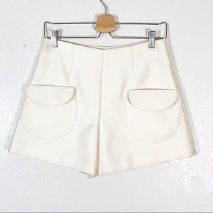 CO Ivory Patch Pocket High Waist Shorts